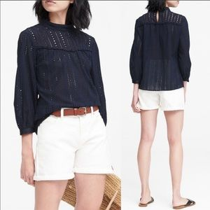 Banana Republic | Navy Eyelet Mock Neck Blouse